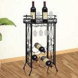 VidaXL Suport sticle de vin pentru 9 sticle, cu suport pahar, metal