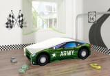 Set Pat Tineret 160x80 Speed Race Car Army + Saltea
