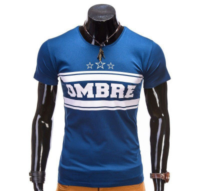 Tricou pentru barbati, albastru, imprimeu piept, mulat, slim fit - z389 foto
