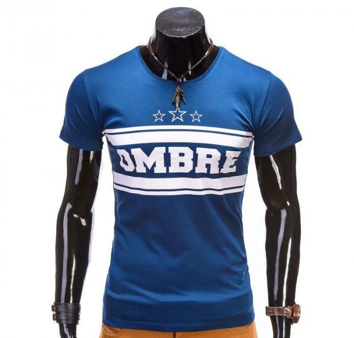 Tricou pentru barbati, albastru, imprimeu piept, mulat, slim fit - z389