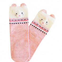 Sosete de culoare roz cu model ursulet
