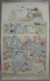 Panou cu diverse scene din basmele lui Creanga// acuarela pe hartie