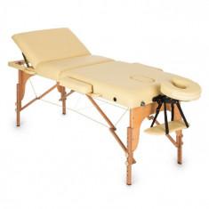 KLARFIT MT500 masa de masaj sac de spumă bej 210 cm 200 kg pliabil cu celule fine