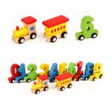 Cumpara ieftin Jucarie din lemn - Tren cu cifre 11 vagoane