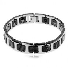 """Brățară magnetică din tungsten - pătrate negre şi zale în formă de """"H'',în nuanţă argintie"""