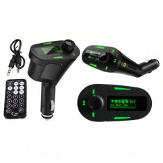 Modulator FM MP3 Auto cu Display Verde Telecomanda USB Card SD AUX Jack 12/24V