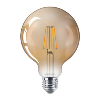 Bec LED Filament Philips 4W(35W) E27 G93 Glob 400 lm 2500K Vintage Gold foto