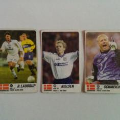 Lot 3 cartonașe fotbal - EURO 2000 - jucători din Danemarca (Laudrup, Schmeiche)
