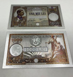 1000 LEI 1934 (REPLICA/REPRODUCERE) POLYMER (PLASTIC) PLACATA CU ARGINT 999‰