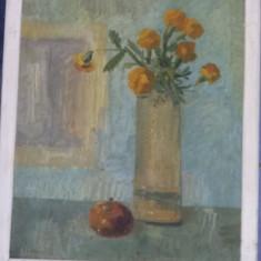 Tablou vechi pictat pe panza cu rama de pictorul I.RADU,Pictura veche,T.Gratuit, Flori, Ulei, Realism