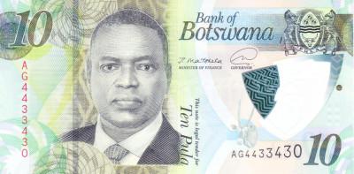 Bancnota Botswana 10 Pula 2020 - PNew UNC ( polimer ) foto
