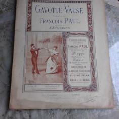 GAVOTTE VALS, THEORIE DE FRANCOIS PAUL - K.B. FELDMANN (PARTITURA)