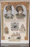 VOIEVOZII IUBITORI DE CULTURA , MATEI BASARAB SI VASILE LUPU - LITOGRAFIE ORIGINALA , INTERBELICA , PE CARTON