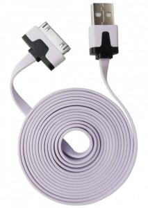 Cablu date si incarcare mufa 30 pini la mufa USB 2.0 mov deschis, plat, 2m lungime, pentru Apple iPhone 2G/3G/3GS/4/4S