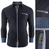 Camasa pentru barbati negru Slim fit casual cu guler Formia Special