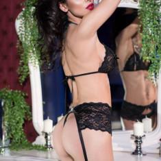Set Sexy Din Dantela, Cu Sutien, Portjartier Si Chilotei, Negru, M