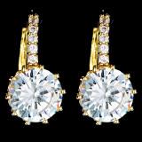 Cercei placati cu Aur 18K si Diamante, Sofia Gold