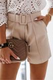 Pantaloni scurti dama, casual, culori diferite, P093, Bej, Negru, L, M, XS