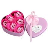 Set 6 buc trandafiri din sapun, in cutie metalica tip inima