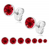Cercei din argint 925 - zirconiu roșu rubin, suport strălucitor - Dimensiune stras: 6 mm