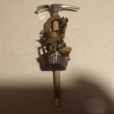 Alpenstock cu capra de munte,miniatural,obiect decorativ,tirolez