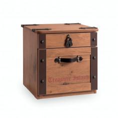 Noptiera din pal cu 2 sertare, pentru copii Pirate Brown, l44xA42xH44 cm