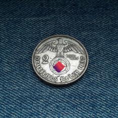 #30 2 Reichsmark 1937 A Germania WW2, marci germane argint / mark