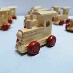 Set 12 bucati Locomotiva trenulet lemn , natur , 6 x 3 x 4.5 cm