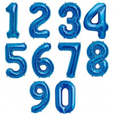 Baloane din folie aluminiu, cifre albastre, 46 cm