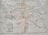 Harta a Asiei Mici in perioada antica, tiparita in 1828