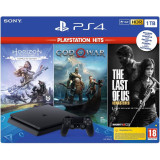 Consola SONY Playstation 4 Slim, 1TB, Jet Black + God of War HITS + Horizon Zero Dawn Complete Edition HITS + The Last of Us Remastered HITS