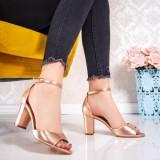 Sandale cu toc dama champagne Lisada