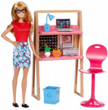 Set papusa Barbie si accesorii pentru birou