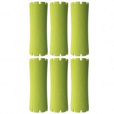 Set bigudiuri Oranjollie, 6 bucati, model tub, plastic, verde