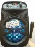 Boxa portabila Bluetooth BK106 Karaoke, telecomanda + microfon, 33 cm inaltime