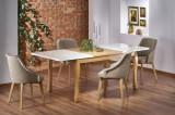Set masa extensibila din MDF si lemn de fag Donovan Alb / Stejar + 4 scaune tapitate Toledo 2 Bej, L140-210xl90xH76 cm
