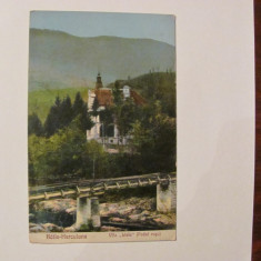 "GE - Ilustrata veche BAILE HERCULANE ""Vila Livia / Podul Rosu"" circulata 1927"