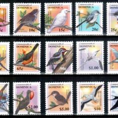 Dominica 2001, Mi #3190-3204**, pasari, MNH, cota 44 €!