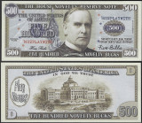 !!! SUA = FANTASY NOTE , PLAY MONEY = 500 DOLARI 2019 - UNC