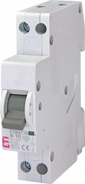 Siguranta automata ETI, 10A, 1P+N, curba declansare B10, curent de rupere 6kA