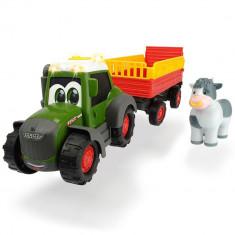 Tractor Dickie Toys Happy Fendt Animal Trailer cu remorca si figurina