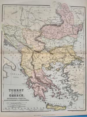 Harta a Balcanilor, cu reprezentare a Romaniei, tiparita in anul 1881 foto