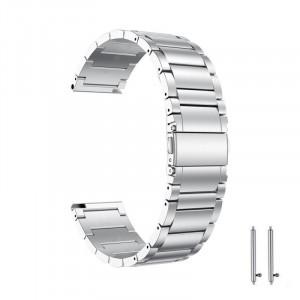 Curea metalica compatibila Moto 360 46mm Generatia 2, telescoape Quick Release, 22mm, Silver