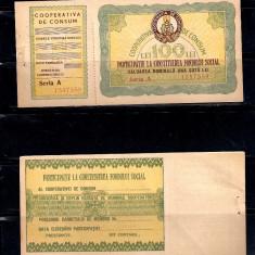 BON COMPLET COOPERATIVA DE CONSUM 100 LEI, NECIRCULAT, DIN CARNET