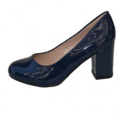 Pantof simplu, elegant, bleumarin, cu toc lat inaltime medie foto
