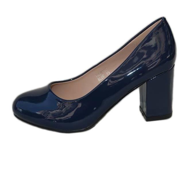 Pantof simplu, elegant, bleumarin, cu toc lat inaltime medie