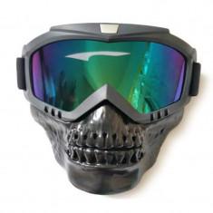 Masca protectie fata, plastic dur + ochelari ski, lentila multicolora, craniu