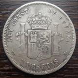 (A762) MONEDA DIN ARGINT SPANIA - 5 PESETAS 1884, ALFONSO XII