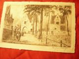 Ilustrata cu Gravura Belgia - Manastire Beguini - circulat 1939 la Bucuresti