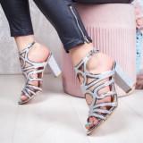Sandale cu toc dama argintii Piselia